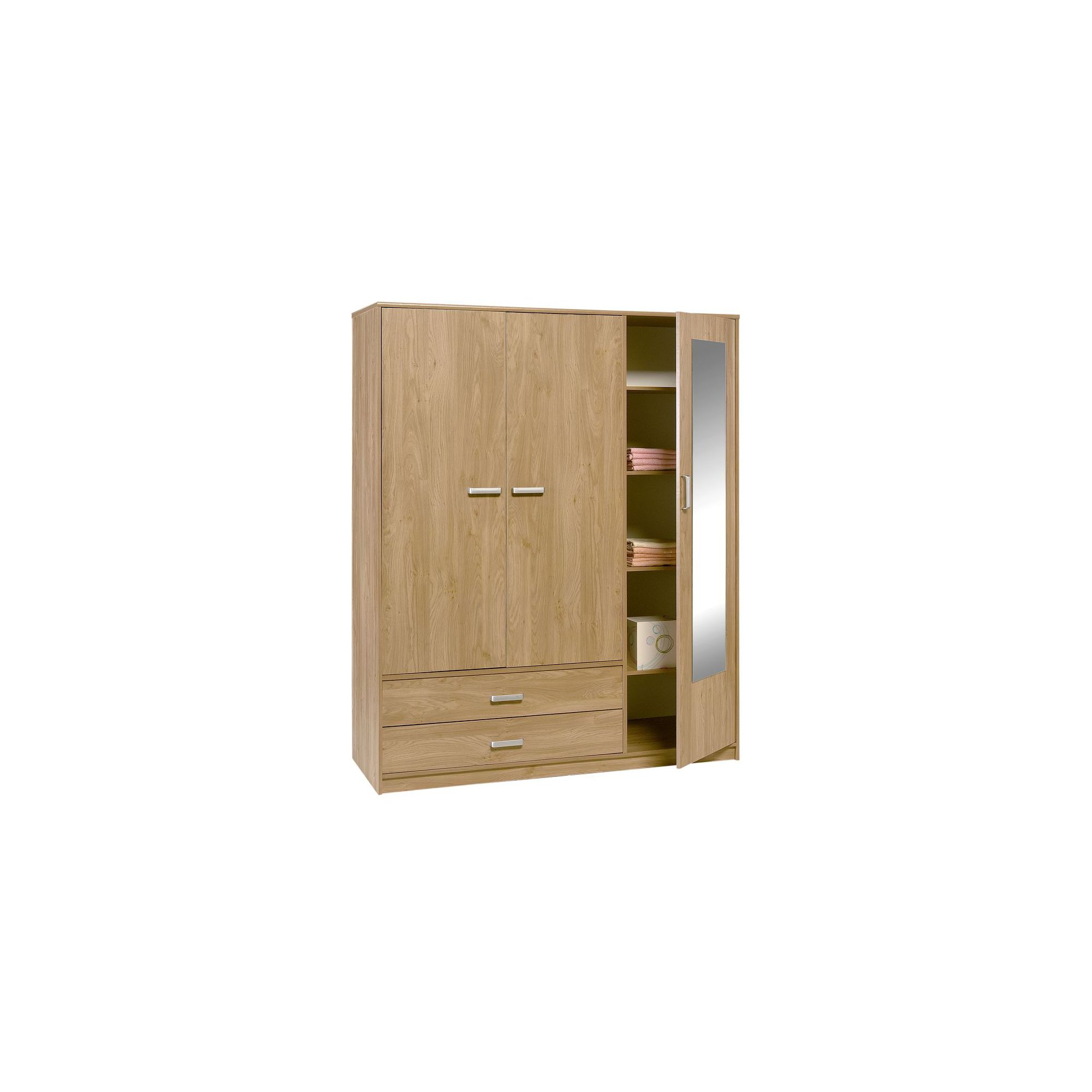 Altruna Frucha Three Door Two Drawer Wardrobe in Oak at Tesco Direct
