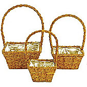 Picnic - Rattan Planter Baskets With Handles - Set Of 3 - Brown