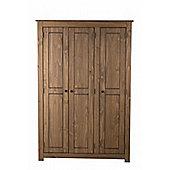 Santiago 3 door wardrobe distressed waxed pine