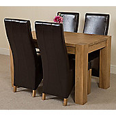 Kuba Chunky Solid Oak 125 cm Dining Table with 4 Brown Lola Leather Chairs