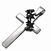 Urban Male Cross & Star Crown Men's Pendant In Stainless Steel