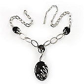Rhodium Plated Oval Link Enamel Y-Necklace (Black)