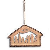 Silhouette Nativity Scene Hanging Christmas Decoration - Design A