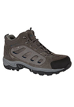 Lockton Men's Waterproof Hiking Boots Mid Top Ankle Support Walking Trekking - Grey