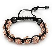 Peach Coloured Swarovski Crystal Balls Shamballa Bracelet - 10mm - Adjustable