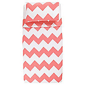 Tesco Basic chevron print duvet set SB flamingo