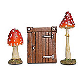 Small Brown Resin Hobbit Door & Mushroom Fairy Garden Set