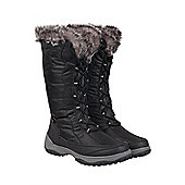 Snowstorm Womens Long Waterproof Faux Fur Lined Snow Winter Boots - Black