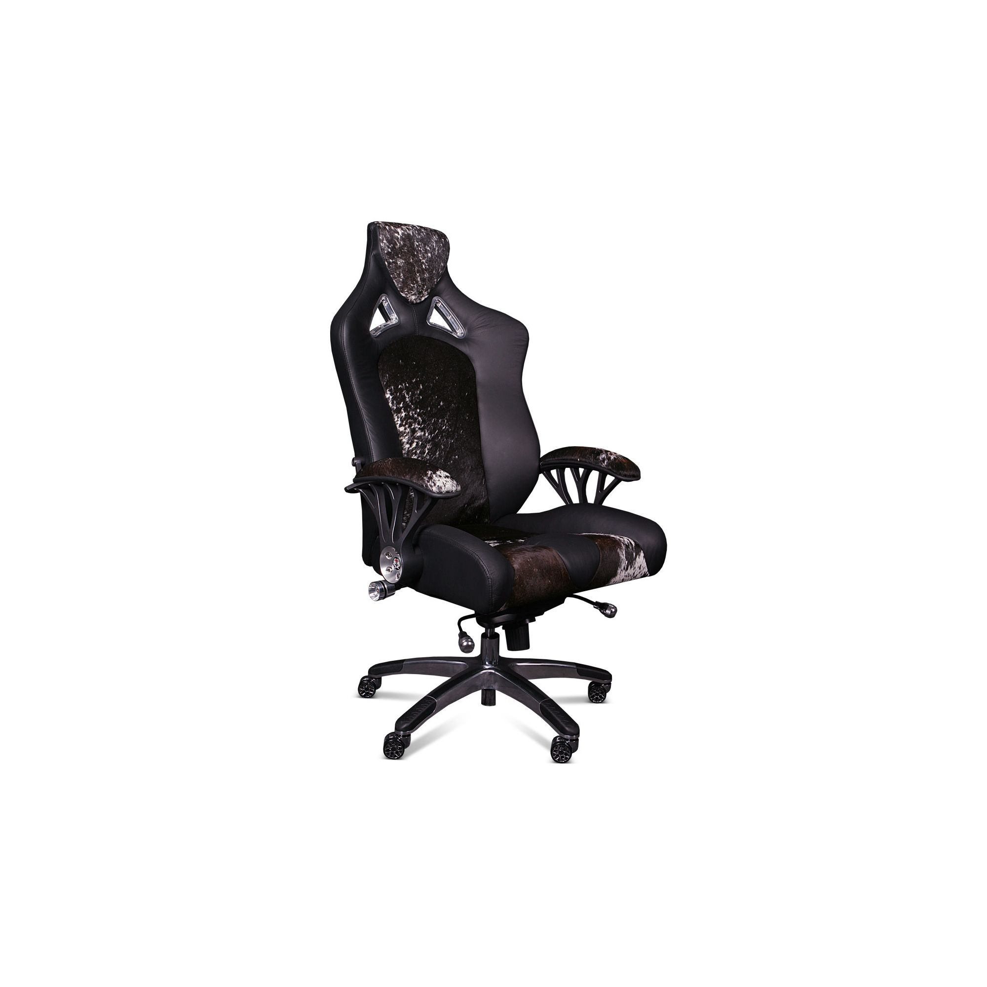 ProMech Racing Speed998 Upholstered  Office Racing Chair - Black Leather/Cowhide at Tesco Direct