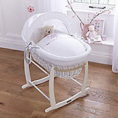 Clair de Lune White Wicker Moses Basket (Stardust Pink)