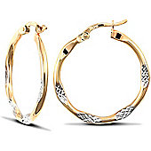 9ct Yellow and White Gold Hoops - 25mm