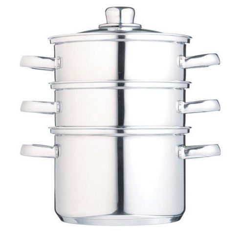 18cm 3 Tier Steamer with glass lid