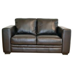 Naples Leather Small Sofa, Chocolate