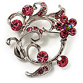 Pink Crystal Floral Wreath Brooch (Silver Tone)