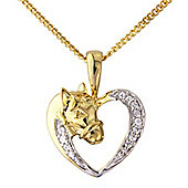 Silver with 9ct Gold Overlay Cubic Zirconia Pony Pendant with Chain
