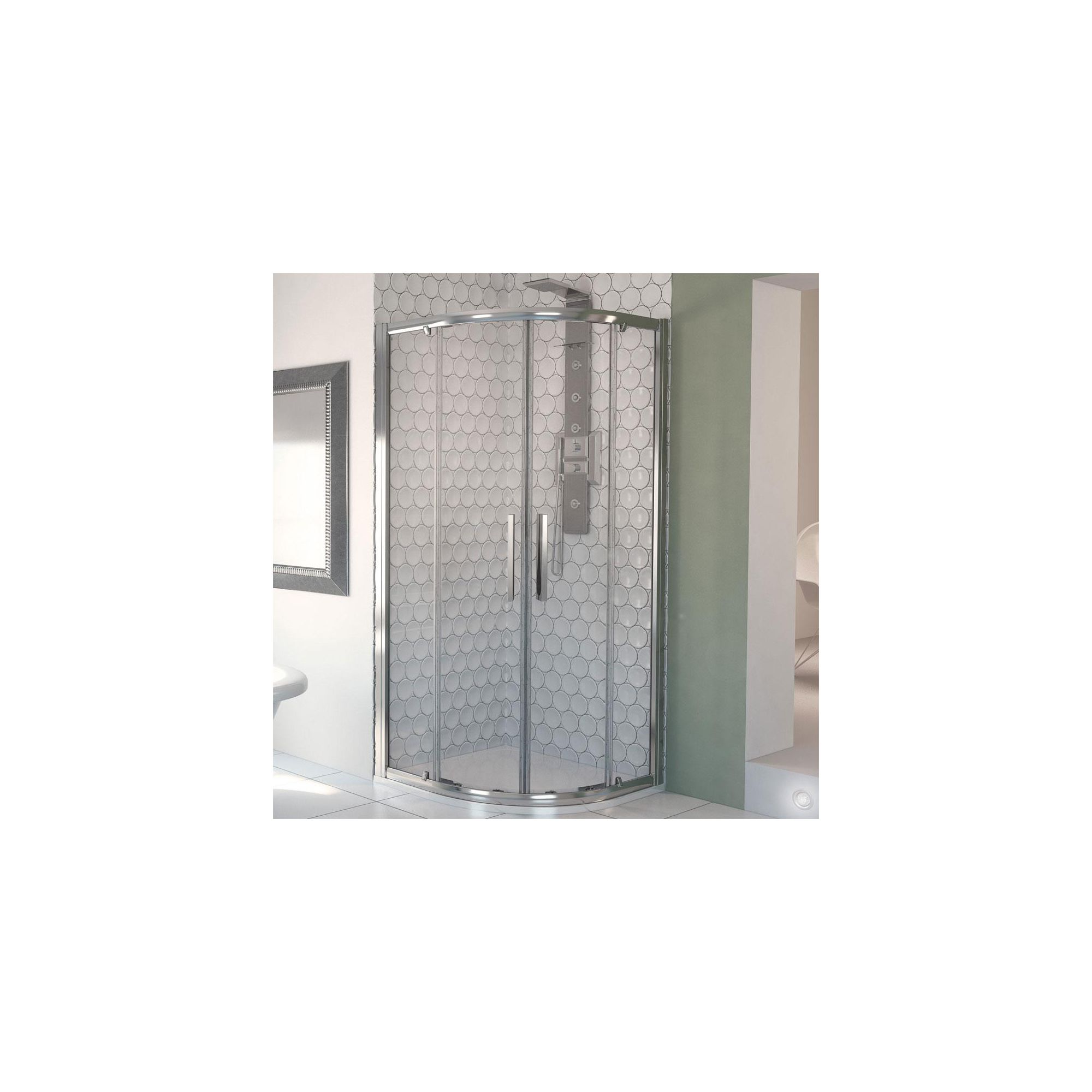 Aqualux AQUA8 Glide Quadrant Shower Door, 900mm x 900mm, Polished Silver Frame, 8mm Glass at Tesco Direct