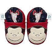 Dotty Fish Soft Leather Baby Shoe - Red and Cream Monkey - Red