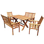 Homestead Bench Dining Set - Homestead 'X' Leg Table 150 x 90cm, 2 Benches & 2 Armchairs