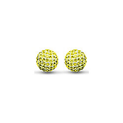 Jewelco 9ct Gold 8mm Crystal Disco Ball Studs - Yellow Citrine Colour