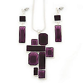 Grape Soda Purple 'Summer Shapes' Necklace & Drop Earrings Set In Matte Silver Plating - 40cm Length/ 7cm Extension