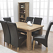 Furniture Link Danube Extending Table in Weathered Oak - 180cm with Chairs