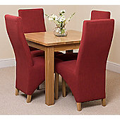 Oslo Solid Oak 90 cm Dining Table with 4 Red Lola Fabric Chairs