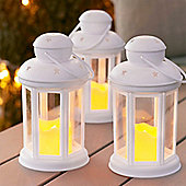 Set of 3 White Battery LED Candle Lanterns