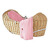 Isabella Alicia Natural Izzy-Pod Moses Basket (Bubble Pink)