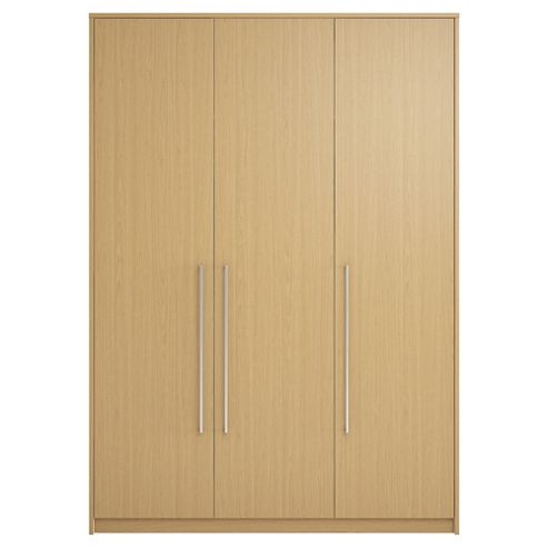 Adria Tall Oak Triple Wardrobe With Tall Oak Plain Doors