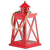 Metal And Glass x Lantern With Rope Handle, Red