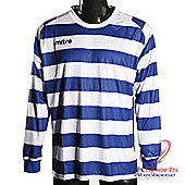 Mitre Malagha DryCool Long Sleeved Football Shirt Jersey Blue/White Medium