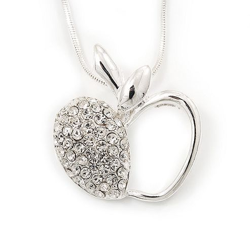 Silver Plated Diamante Open Apple Pendant Necklace - 42cm Length