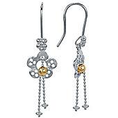 Blossom Copenhagen Rhodium Plated Sterling Silver Flower GP Ball Hook Dangle Earrings