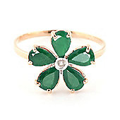 QP Jewellers Diamond & Emerald Foliole Ring in 14K Rose Gold