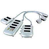 3 Way Scart Switch Splitter Extension Box RGB Adaptor