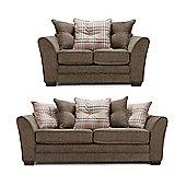Aprilia Scatter Back 3+2 Sofa Set – Brown