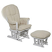 Tutti Bambini Fleur Multi Position Locking Glider Chair & Stool- White