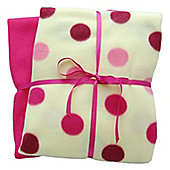 Cozy Time Twin Pack Fleece Blanket - 120cm x 150cm Pink Spotted