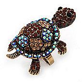 Large AB/ Citrine/ Amber Coloured Crystal Turtle Ring In Burn Gold Metal - Adjustable - 5cm Length