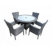 Cambridge 4 Non-Reclining Chairs And Small Round Table Set in Black and Vanilla