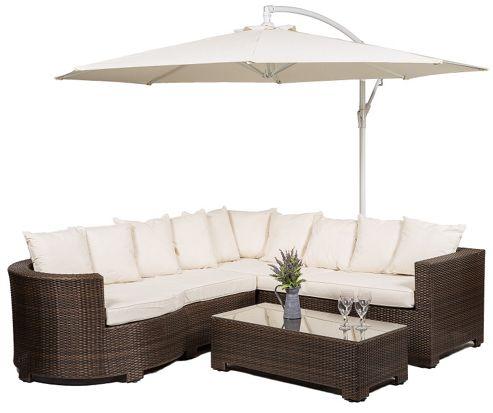 buy marbella 6 seat rattan corner sofa set with glass top. Black Bedroom Furniture Sets. Home Design Ideas