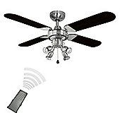 Scimitar Remote Control Ceiling Fan with Spot Lights in Brushed Chrome & Black