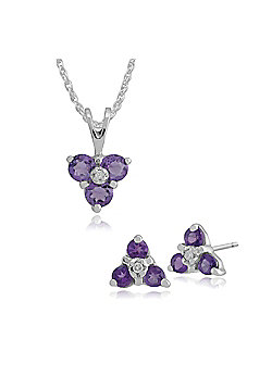 Gemondo 9ct White Gold Amethyst & Diamond Classic Cluster Stud Earring & 45cm Necklace Set
