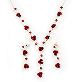 Delicate Y-Shape Red Rose Necklace & Drop Earring Set