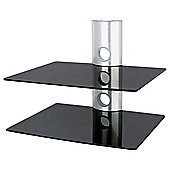 Ultimate Mounts UMS502 Silver and Black Glass Shelving Unit