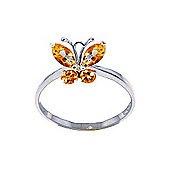 QP Jewellers 0.60ct Citrine Butterfly Ring in 14K White Gold