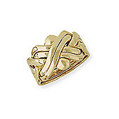 Jewelco London 9ct Yellow Gold - Six-Row Puzzle Ring -