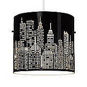 New York Skyline Ceiling Pendant Light Shade in Black