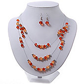 Orange/Peach/Silver Metal Bead Multistrand Floating Necklace & Drop Earrings Set
