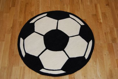 Oriental Carpets & Rugs Hong Kong Football 2054 Black/White Tufted Kids Rug - 85cm L x85cm W